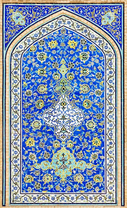 fototapete gekachelten hintergrund orientalische ornamente moschee von isfahan iran pixers. Black Bedroom Furniture Sets. Home Design Ideas
