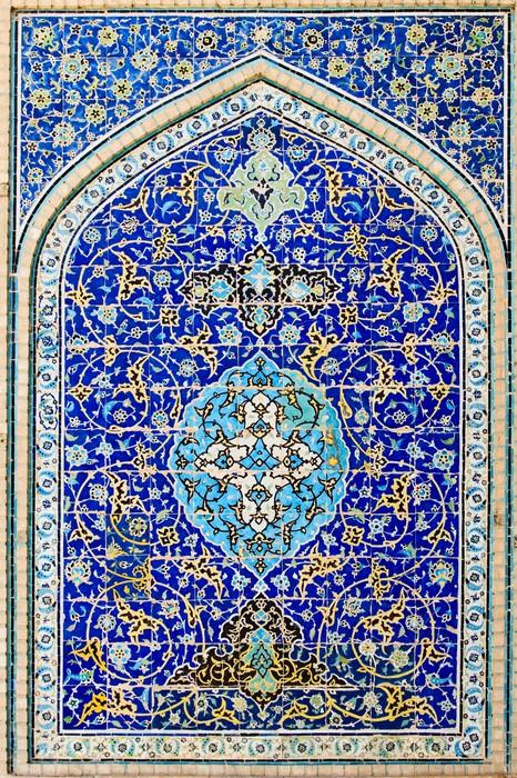 aufkleber gekachelten hintergrund orientalische ornamente moschee von isfahan iran pixers. Black Bedroom Furniture Sets. Home Design Ideas