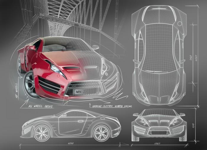 Aufkleber Sportwagen Blaupausen. Non gebrandmarkt Concept Car ...