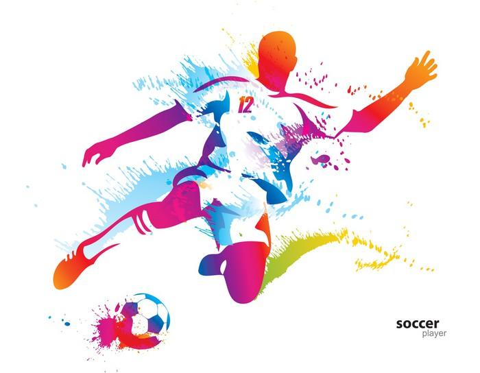 Fototapeta Piłkarz Kopie Piłkę. Kolorowych Ilustracji