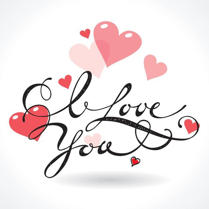 aufkleber valentine karte mit schriftzug ich liebe dich vektor illustration pixers wir. Black Bedroom Furniture Sets. Home Design Ideas