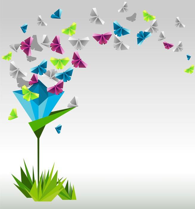 Vinylová Tapeta Origami abstraktní pozadí. Papírové motýli a květiny. - Pozadí