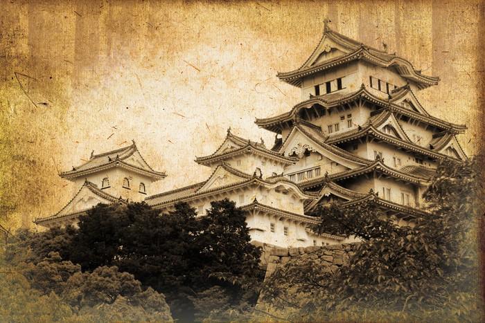tableau sur toile ch teau de himeji style photo ancienne japon pixers nous vivons pour. Black Bedroom Furniture Sets. Home Design Ideas