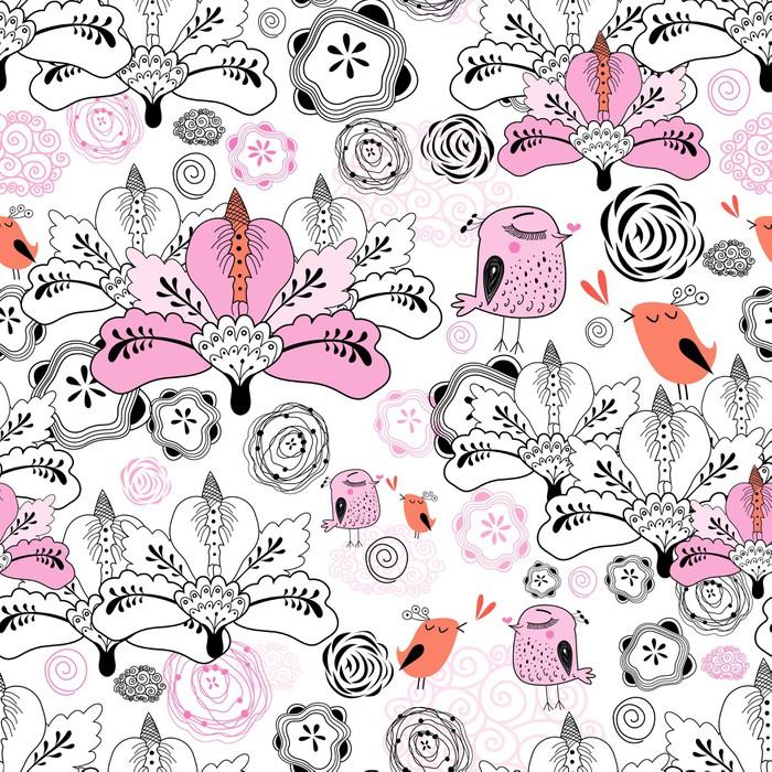 papier peint flower texture avec des oiseaux pixers nous vivons pour changer. Black Bedroom Furniture Sets. Home Design Ideas