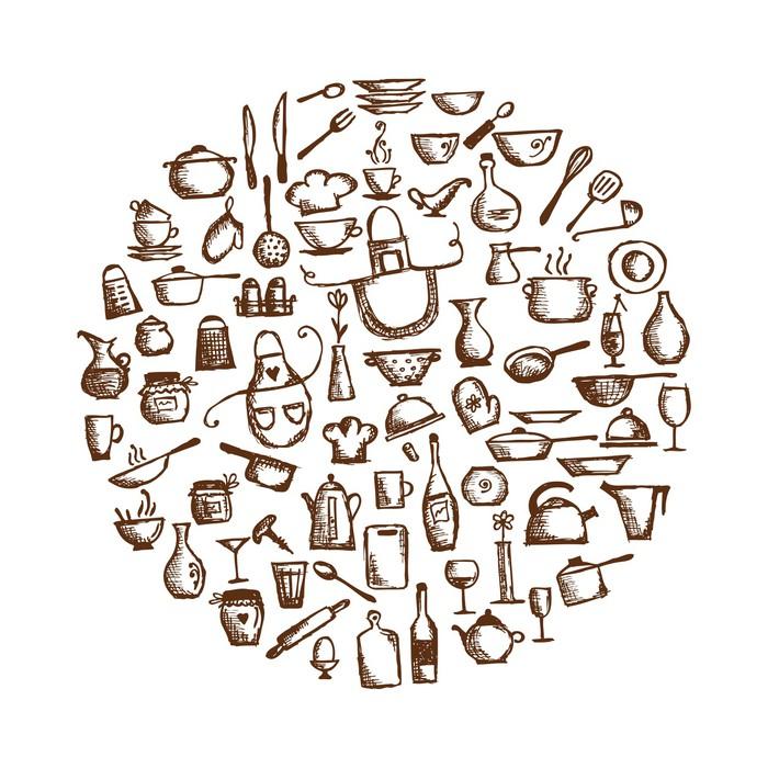 Vinilo pixerstick utensilios de cocina dibujo boceto de for Utensilios de cocina casa joven