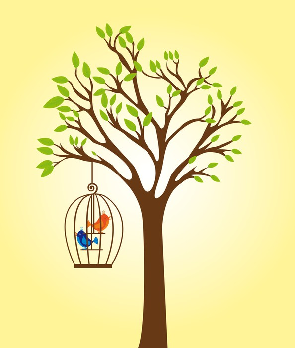 Papier peint arbre avec cage pixers nous vivons pour - Papier peint motif arbres ...