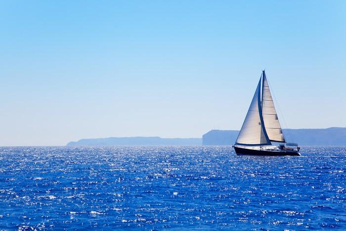 Vinylová Tapeta Modrá Mediterranean plachetnici plujících - Témata