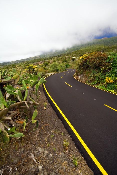 Vinylová Tapeta Gewundene Bergstrasse Unter den Wolken, La Palma - Evropa