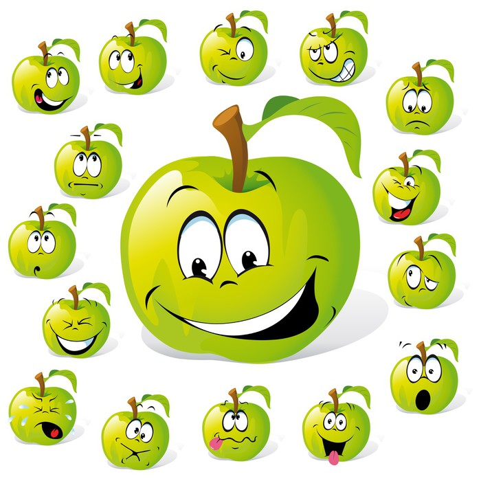 green apple with many expressions Wall Mural • Pixers® • We live to ...