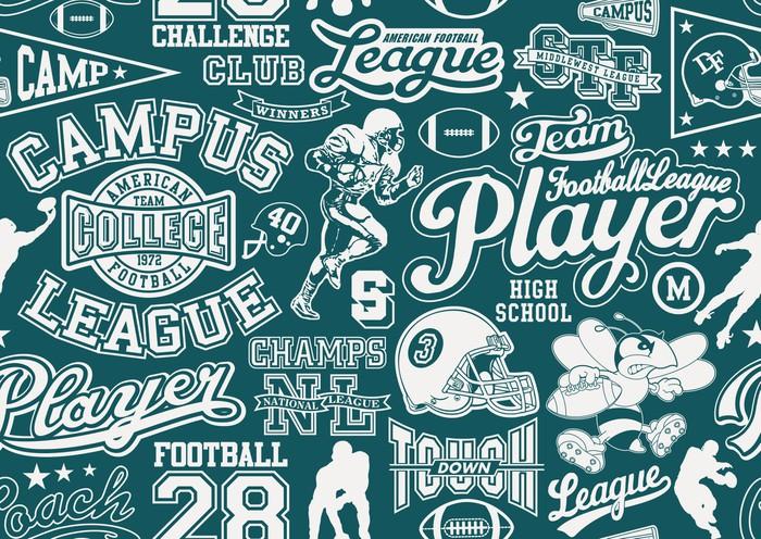Vinylová Tapeta Americký fotbal bezešvé vzor - Týmové sporty