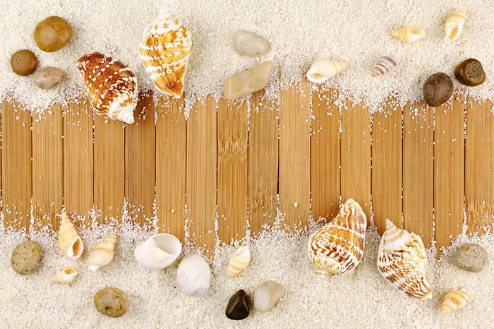 Vinylová Tapeta Letní dřevo dekorace písek a mušle - Prázdniny