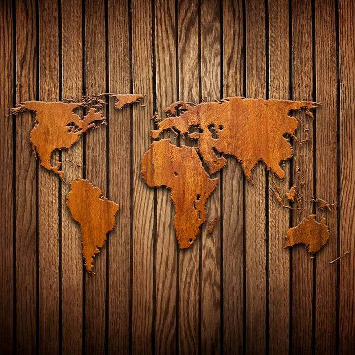 Vinyl wall mural world map carving on wood plank for Mural on wood