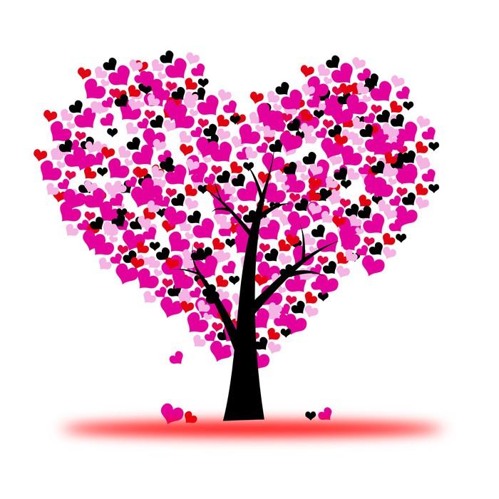 Vinilo Pixerstick Árbol de San Valentín color de rosa, amor, hoja de ...