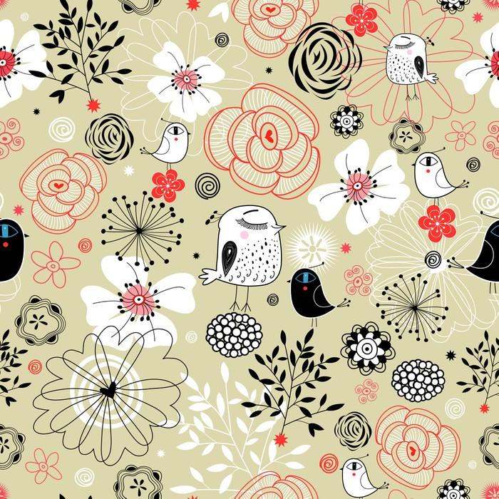 papier peint motif floral avec des oiseaux pixers nous vivons pour changer. Black Bedroom Furniture Sets. Home Design Ideas