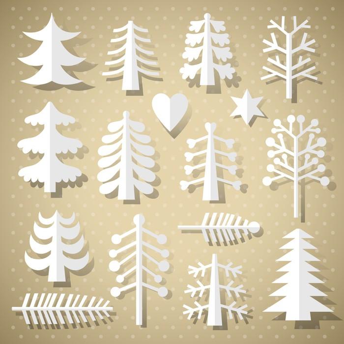 Vinilo pixerstick rboles de navidad de papel blanco for Papel vinilo blanco