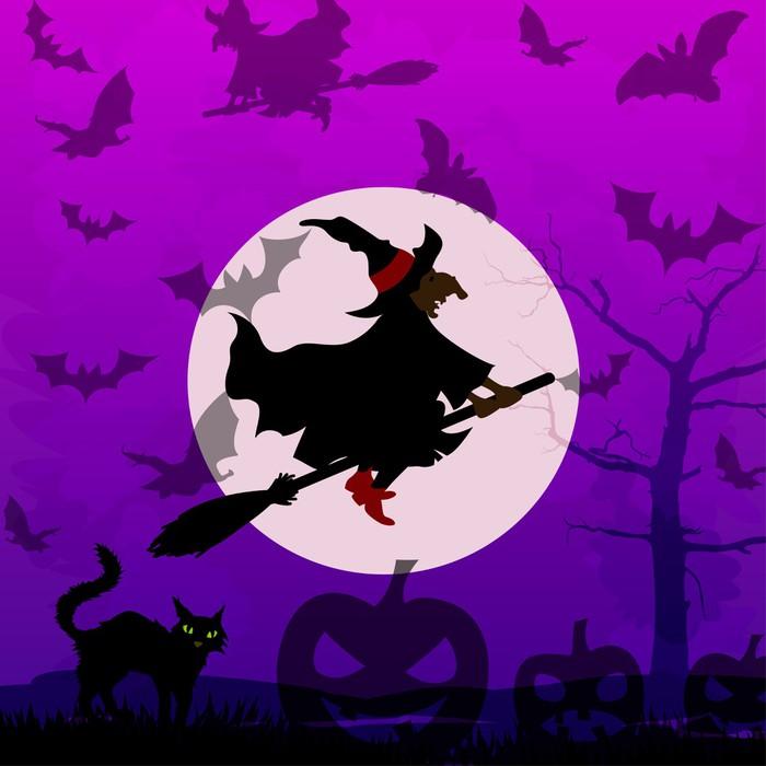 Vinylová Tapeta Halloween pozadí s létající čarodějnice - Mezinárodní svátky