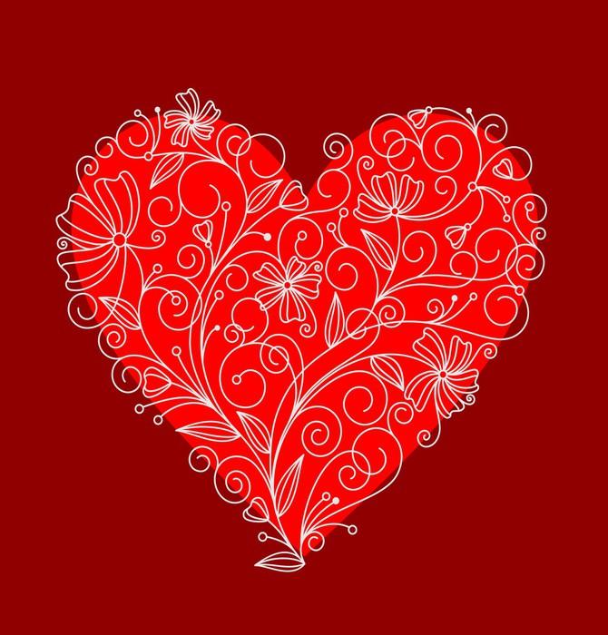 Vinylová fototapeta Červený květ srdce - Vinylová fototapeta