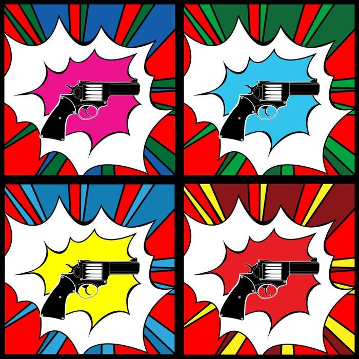 papier peint pistolet pop art pixers nous vivons pour. Black Bedroom Furniture Sets. Home Design Ideas