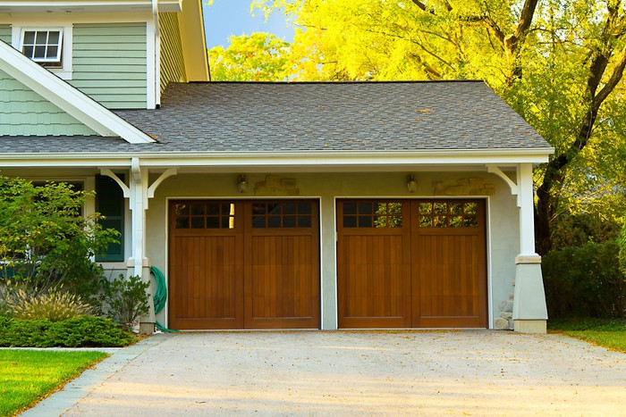Two car wooden garage Wall Mural Pixers We live to change