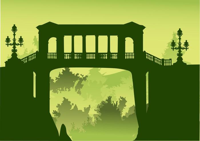 Vinylová Tapeta Most nad propastí s zeleném lese - Infrastruktura
