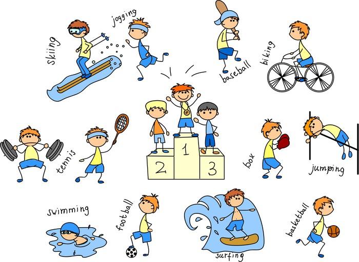 Fondo Con Iconos De Deporte: Fotomural Icono Del Deporte De Dibujos Animados • Pixers