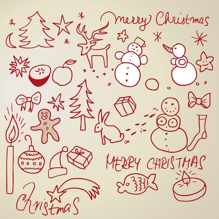 Fototapete Weihnachten Symbole / Skizzen auf Papier • Pixers® - Wir ...