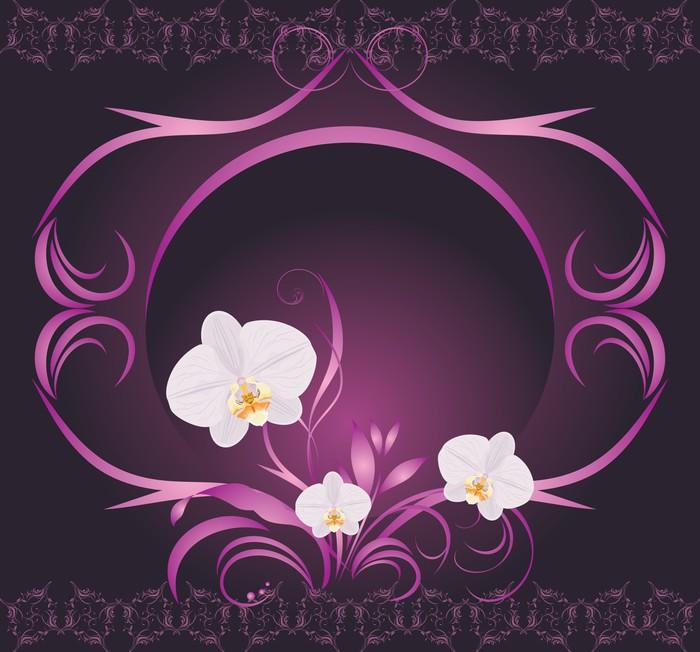 Vinylová Tapeta Orchideje v dekorativním rámu - Národní svátky