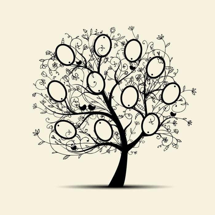 Fototapete Stammbaum Design, fügen Sie Ihre Fotos in Frames • Pixers ...