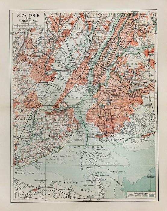 Carta da parati new york vecchia mappa pixers viviamo for Carta da parati new york ebay