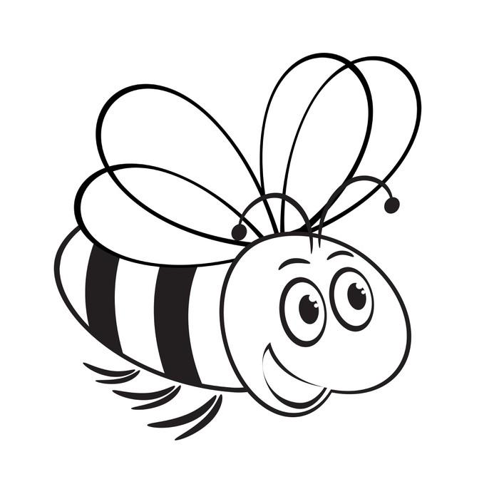 Vinilo Pixerstick Ilustración en blanco y negro de la abeja linda ...