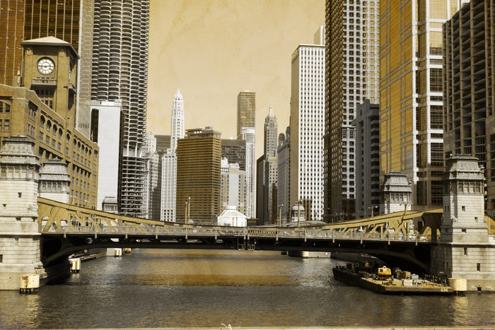 Vintage Picture Effect Chicago Wall Mural Pixers 174 We
