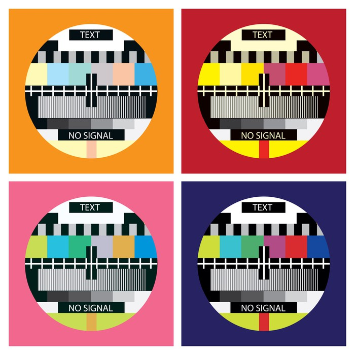 Tv Color Test In Pop Art Style Illustration Wall Mural