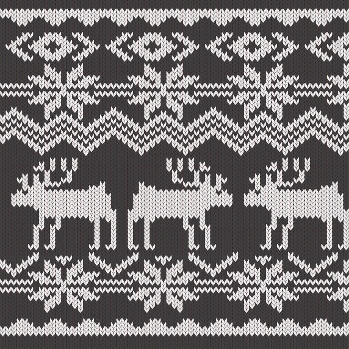 Fotomural Muestra de tejido con ciervos y los copos de nieve patrón ...