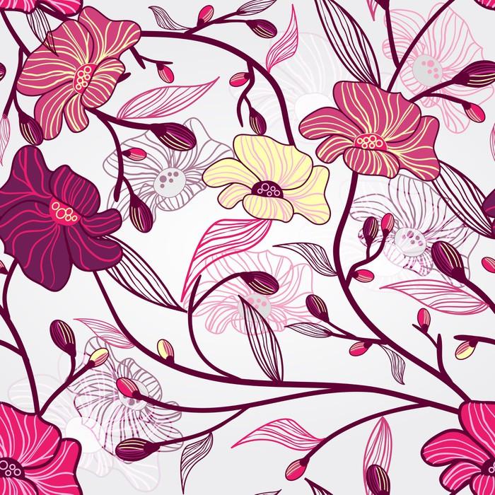 Vinylová Tapeta Pink Floral Pattern - Květiny