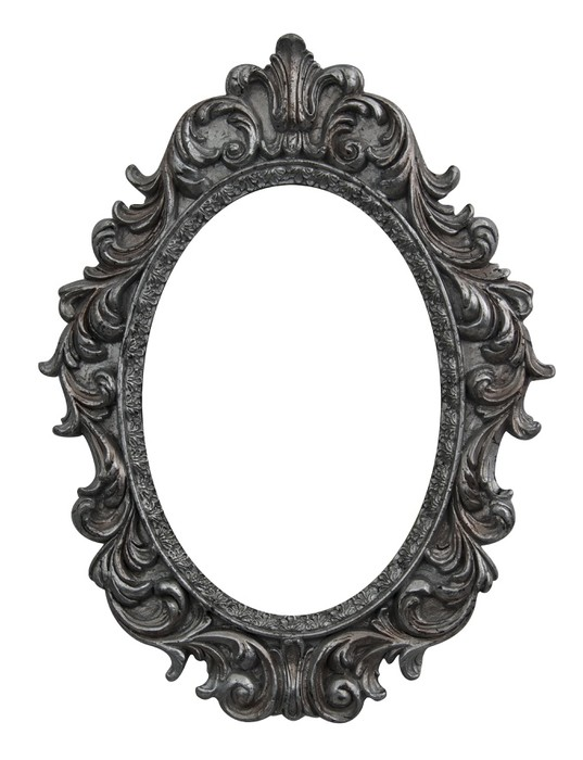 Baroque oval frame wall mural pixers we live to change Miroir argent baroque