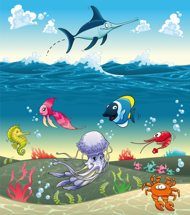 Under the sea with fish and other animals vector for Mural vector