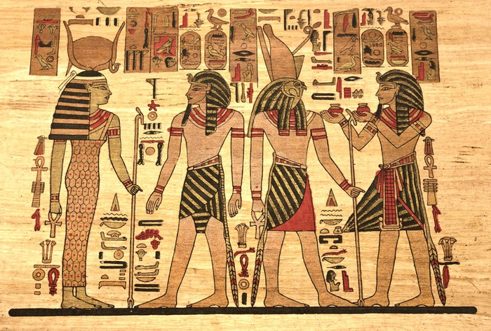 Egypt Papyrus with elements most prominent of the antique Egypt ...