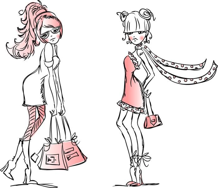 papier peint cartoon filles la mode pixers nous vivons pour changer. Black Bedroom Furniture Sets. Home Design Ideas
