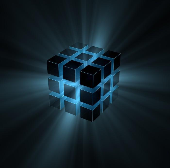 sticker bleu faisceaux lumineux provenant puzzle cube pixers nous vivons pour changer. Black Bedroom Furniture Sets. Home Design Ideas