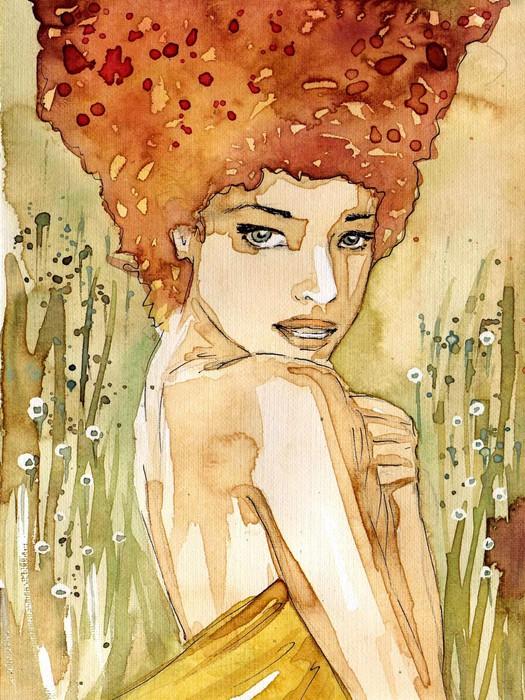 Vinylová Tapeta Akvarel portrét ženy. -