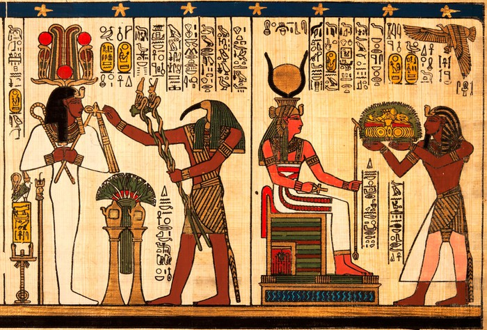 Egyptian papyrus with antique hieroglyphs Wall Mural Pixers We