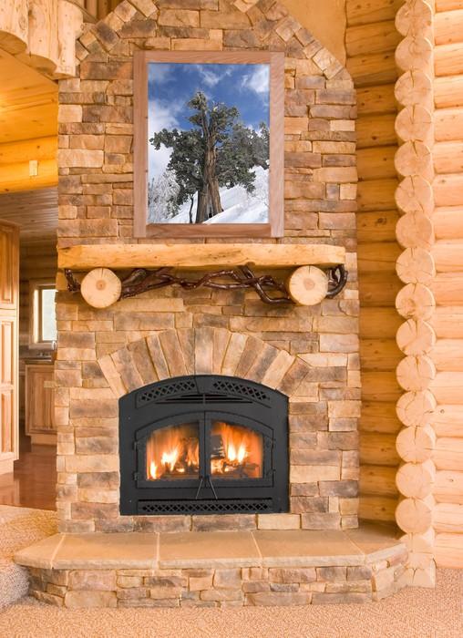 fototapete log cabin home interior mit warmen kamin mit holz flammen ein pixers wir leben. Black Bedroom Furniture Sets. Home Design Ideas