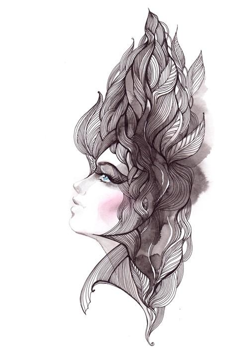 Papier Peint Vinyle Ses cheveux orné de feuillages - Thèmes
