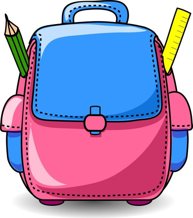 Vinylová Tapeta Cartoon Školní taška - Nálepka na stěny