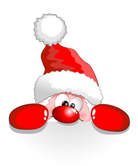 Vinylová Tapeta Babbo Natale Buffo Auguri-Funny Santa Claus Cartoon pozadí - Mezinárodní svátky