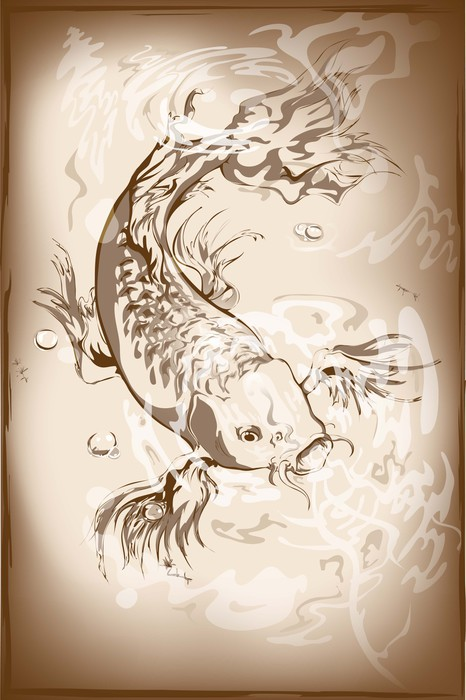 Japanese koi fish wall mural pixers we live to change for Koi wallpaper for walls