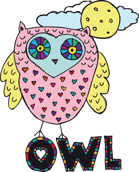 Drawing Of An Owl Vector Illustration Wall Mural Pixers