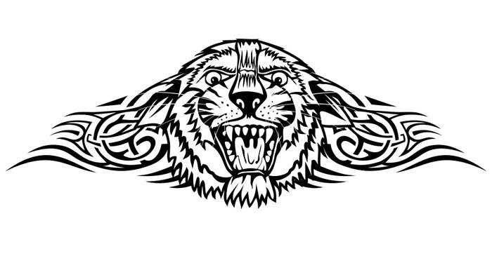 Vinylová Tapeta Vektorové ilustrace hlavy tygra se vzory - Umění a tvorba