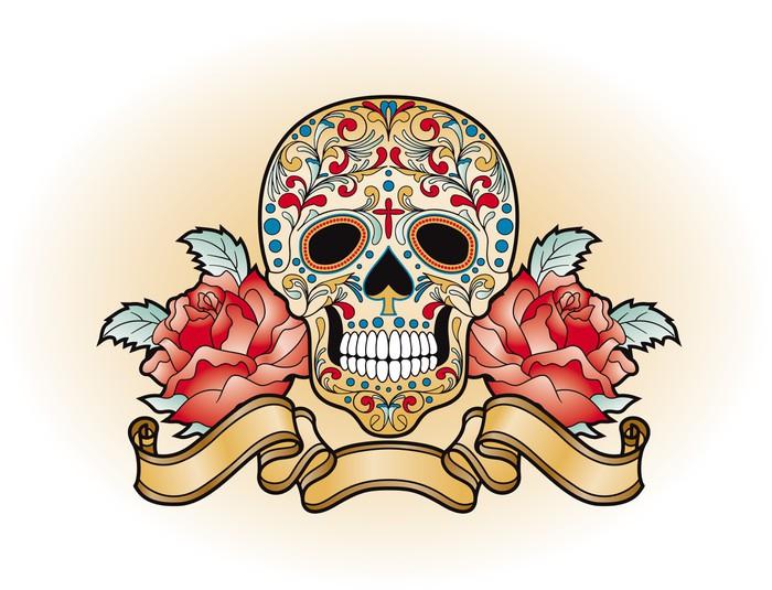 Vinylová Tapeta Dia de Muertos - lebka s růží - Amerika