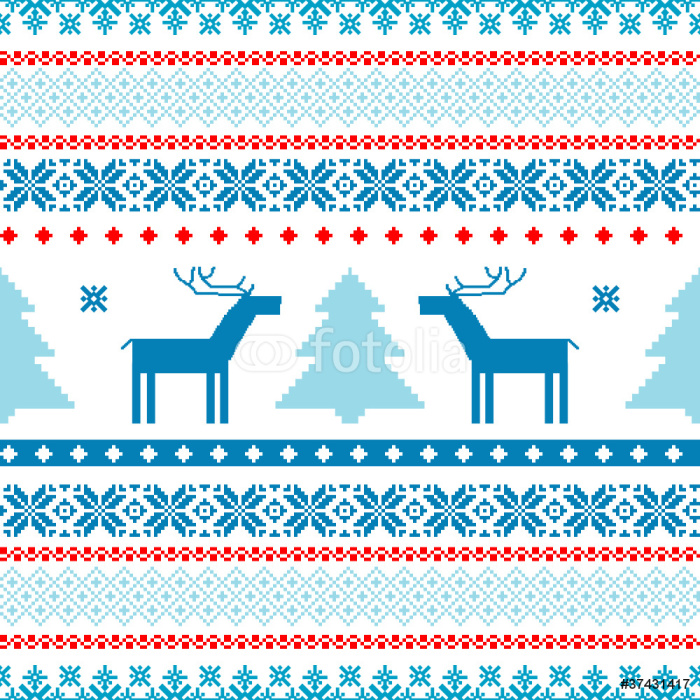 Christmas background fair isle traditional knitted motifs Sticker ...